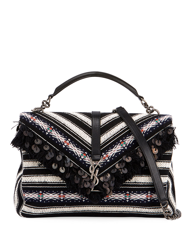 388697c377d Saint Laurent College Large Striped Flap-Top Bag | Neiman Marcus