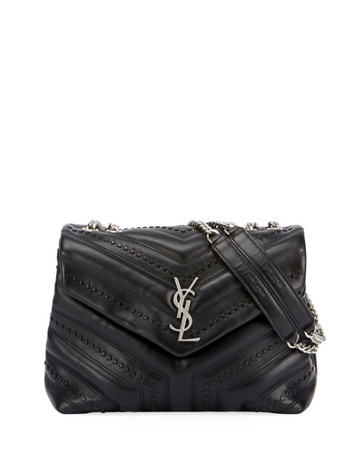 Loulou Monogram Small Flap Black Studded Chain Shoulder Bag