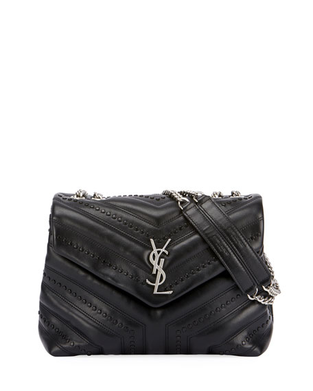 Loulou Monogram YSL Small Flap Black Studded Chain Shoulder Bag