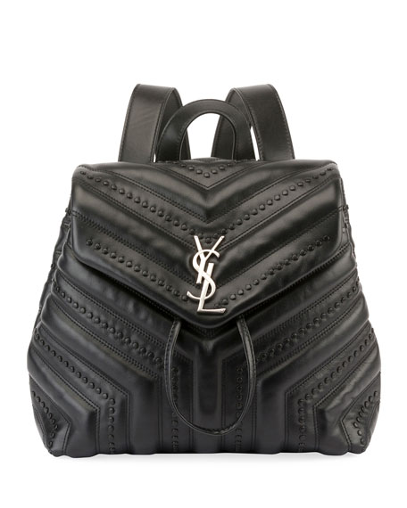 Loulou Monogram YSL Small Quilted Black Studded Leather Backpack