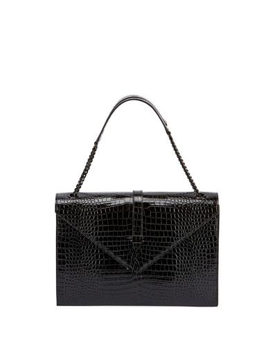 V Flap Medium Shiny Croc-Embossed Shoulder Bag