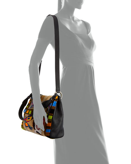 Multi-Print Leather Shoulder Bag