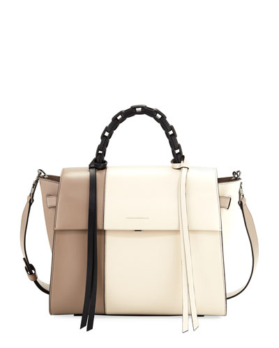Angel Large Abstract Colorblock Top Handle Bag