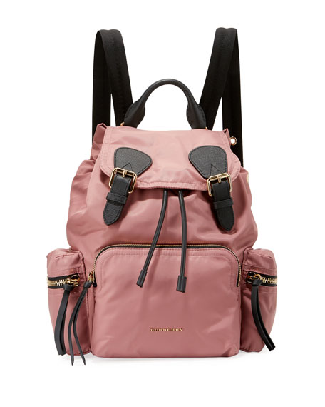 Burberry Medium Rucksack Nylon Backpack, Mauve Pink