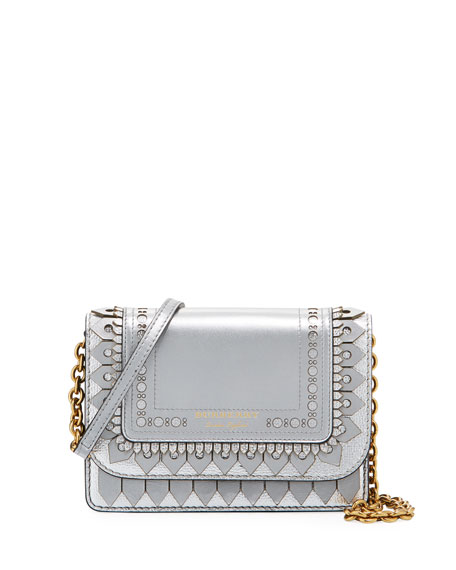 Burberry Hampshire Broguing Metallic Crossbody Bag