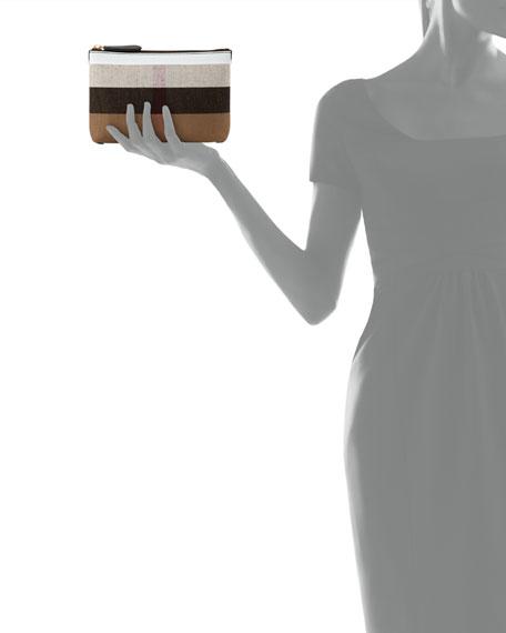 Duncan Medium Canvas Check Clutch Bag, Black/White