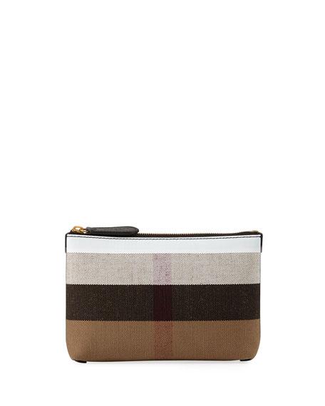 Burberry Duncan Medium Canvas Check Clutch Bag, Black/White