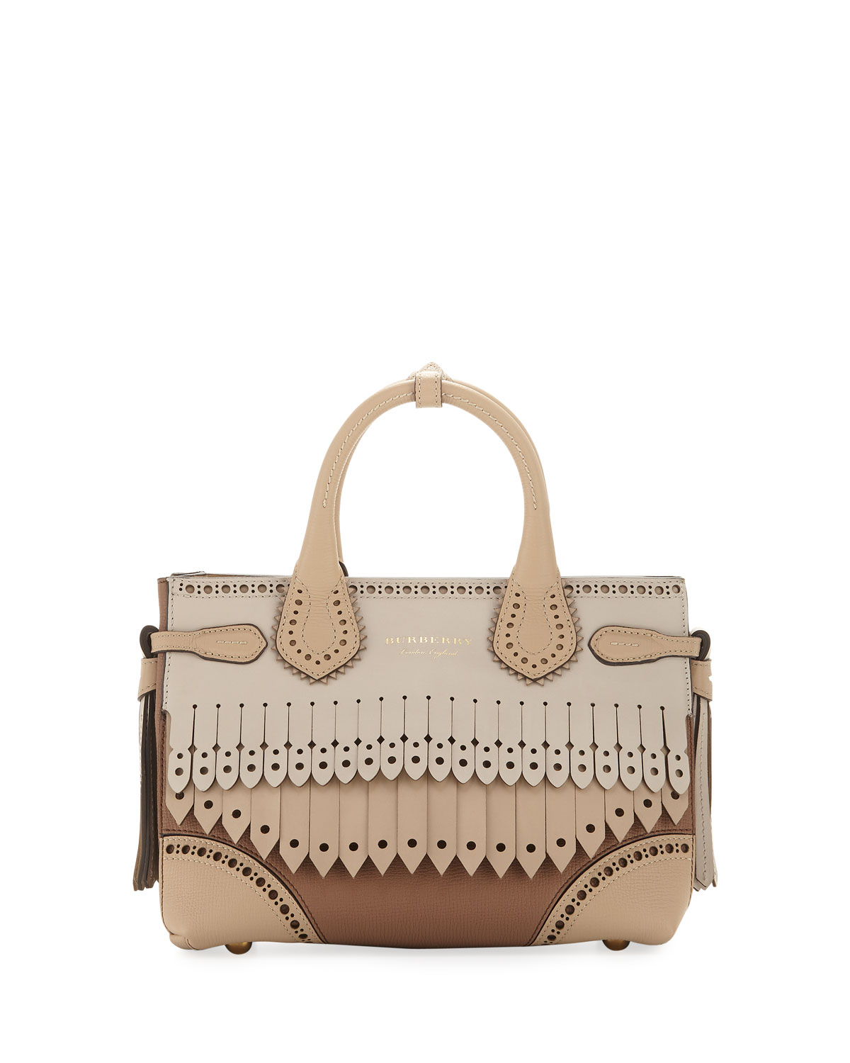 e5a0a9ce0c14 Burberry Banner Small Broguing Fringe Tote Bag