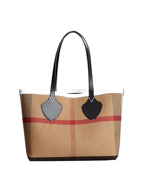 Medium Reversible Bonded Check/Leather Shoulder Tote Bag