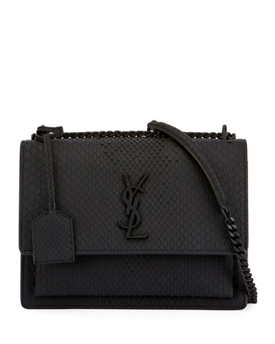 Saint Lau Kate Monogram Medium Matte Python Shoulder Bag
