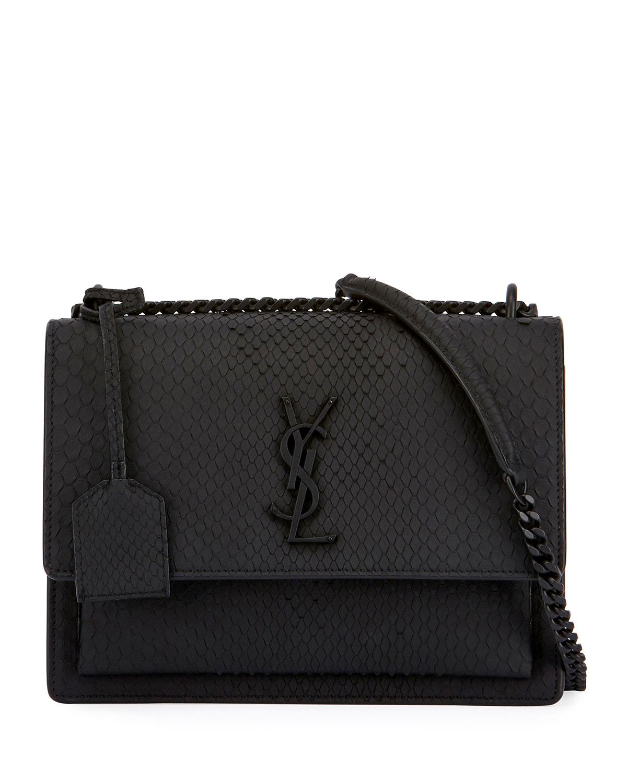 0b53c9e368 Saint Laurent Kate Monogram Medium Matte Python Shoulder Bag ...