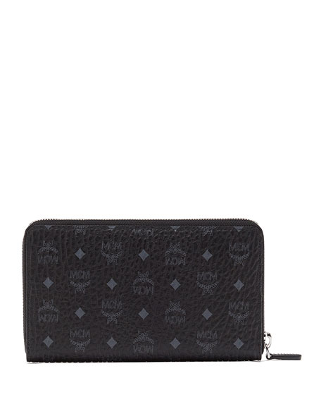 Logo-Embossed Large Zip Wallet
