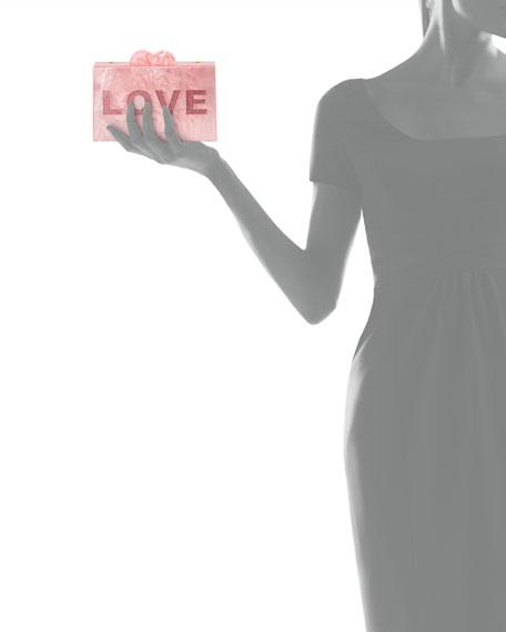 Girls' Like/Love Glittered Acrylic Box Clutch Bag
