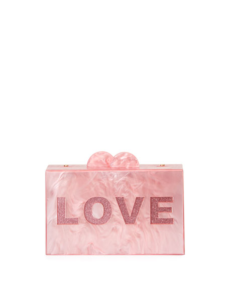 Bari Lynn Girls' Like/Love Glittered Acrylic Box Clutch