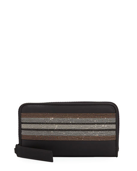 Monili-Trim Zip-Around Wallet