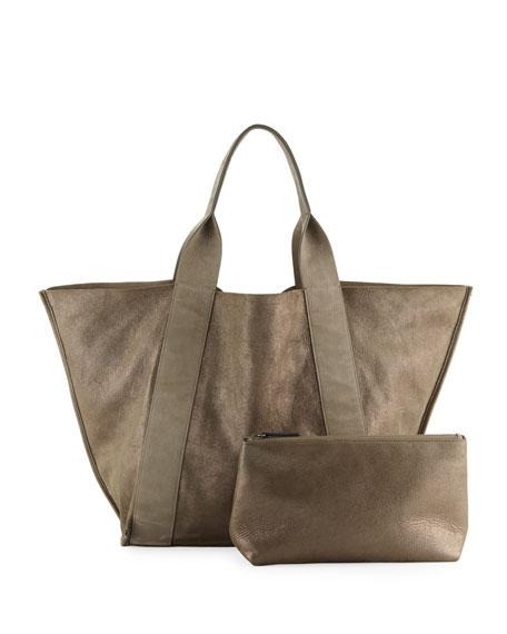 Reversible Leather Tote Bag, Dark Green