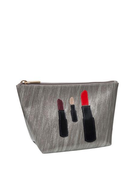 Medium Avery Cosmetics Bag, Brushed Silver Lipstick