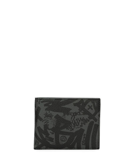 Bevye Graffiti-Print Leather Wallet, Gray