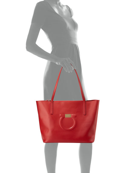 Medium City Leather Shoulder Tote Bag