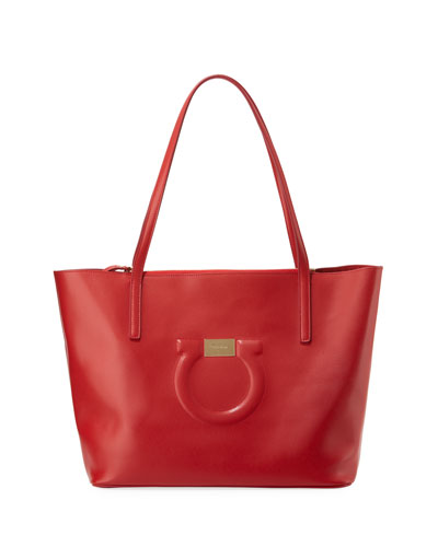 Medium City Leather Shoulder Tote Bag