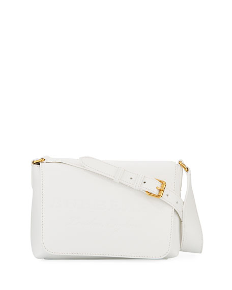 Burberry Burleigh Small Soft Leather Crossbody Bag, White