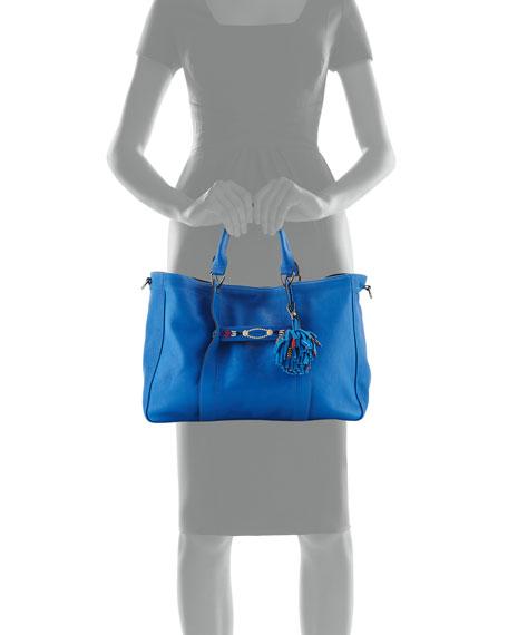 3D Massai Medium Leather Tote Bag, Blue