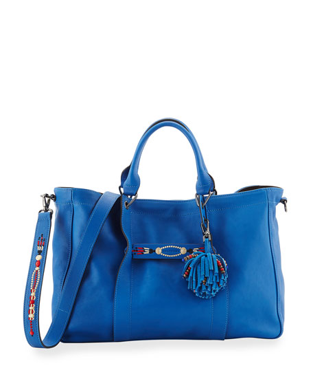 Longchamp 3D Massai Medium Leather Tote Bag, Blue