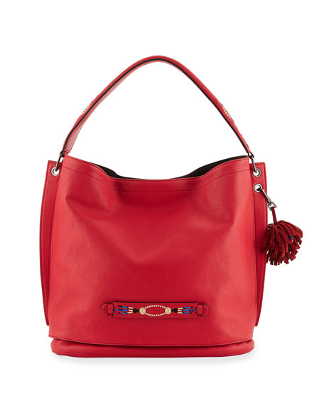 Longchamp 3D Massai Medium Leather Tote Bag, Red