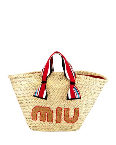 Straw Ribbon-Handle Shopper Tote Bag