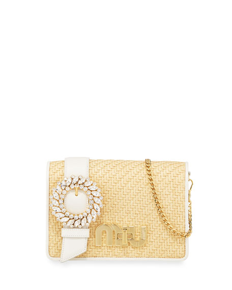 Miu Miu My Miu Lady Straw Crossbody Bag