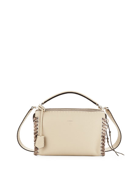 Fendi Selleria Lei Medium Calf and Snakeskin Top-Handle