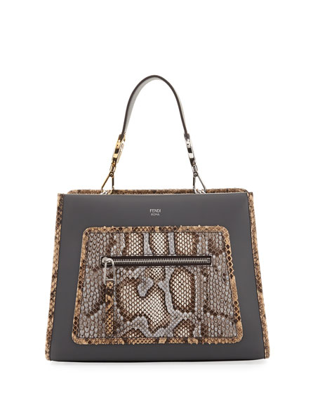 Fendi Runaway Small Python/Leather Shoulder Bag