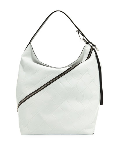 Large Croc-Embossed Leather Hobo Bag