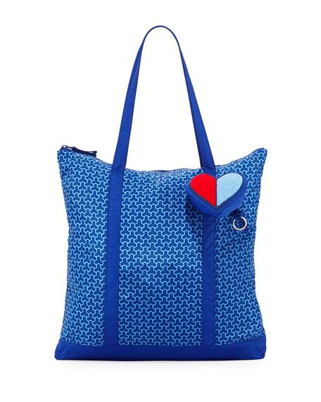 Heart Packable Key Fob Shoulder Tote Bag