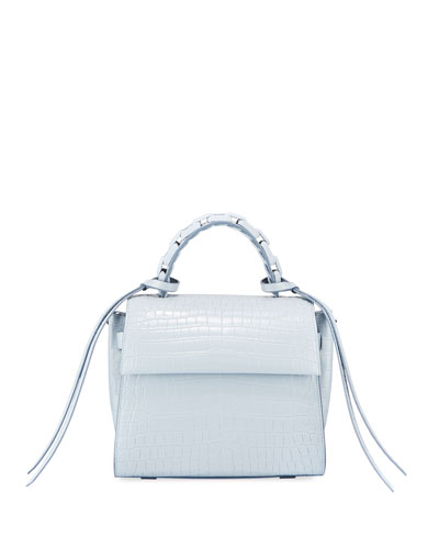 Angel Small Croc-Print Top Handle Bag