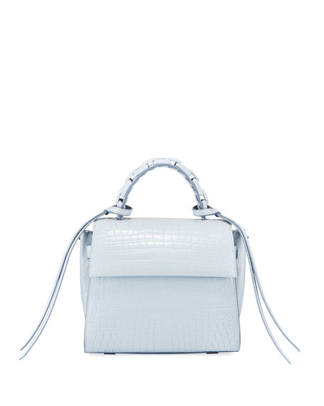 Elena Ghisellini Angel Small Croc-Print Top Handle Bag