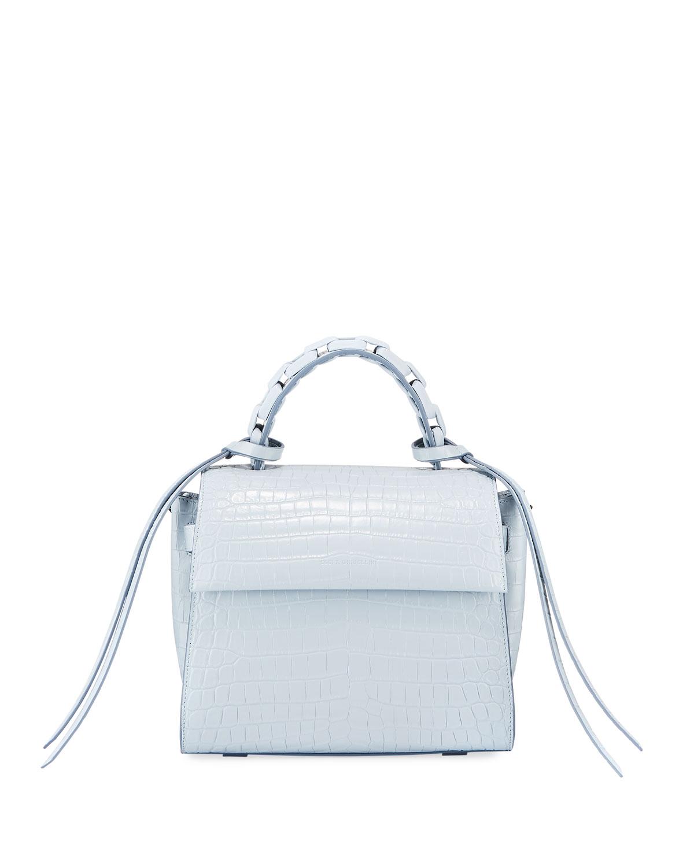 440bc26ecd Elena Ghisellini Angel Small Croc-Print Top Handle Bag