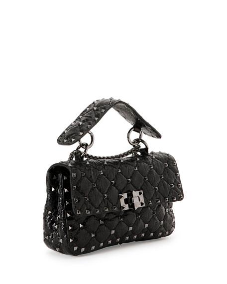 Rockstud Quilted Shrunken Leather Shoulder Bag