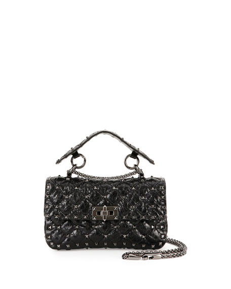 Valentino Garavani Rockstud Quilted Shrunken Leather Shoulder Bag