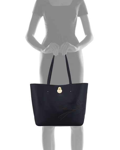 Shop-It Medium Leather Tote Bag