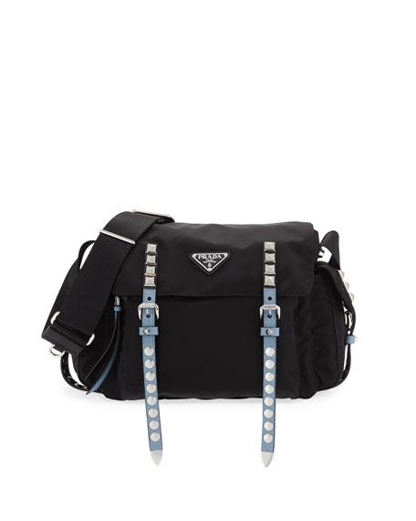 Prada Medium Nylon Messenger Bag with Studding
