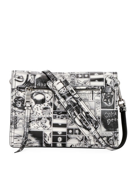 Prada Comic-Print Etiquette Shoulder Bag