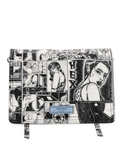 Prada Prada Comic-Print Etiquette Shoulder Bag