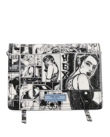 Prada Prada Comic-Print Etiquette Shoulder Bag
