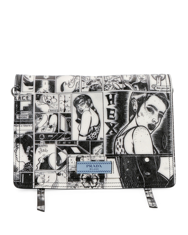 318e2d77b53c2f Prada Prada Comic-Print Etiquette Shoulder Bag | Neiman Marcus