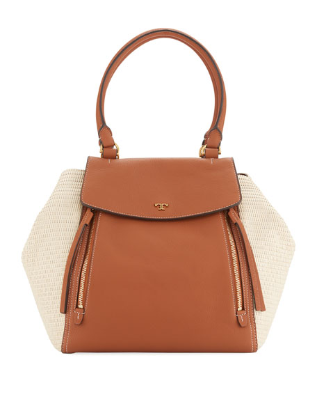 Tory Burch Half-Moon Straw Tote Bag