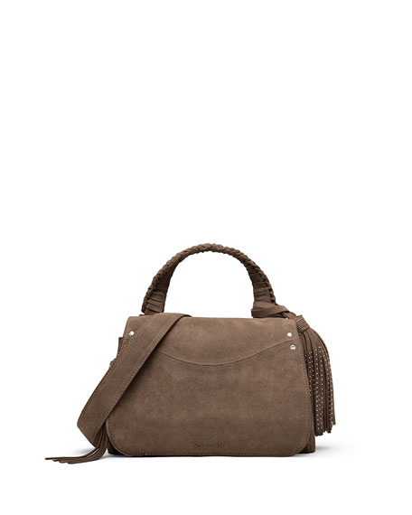 Elizabeth and James Trapeze Small Tassel Crossbody Bag