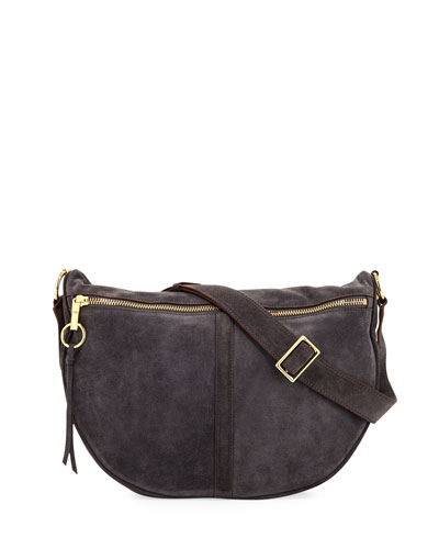 Scott Suede Half-Moon Shoulder Bag