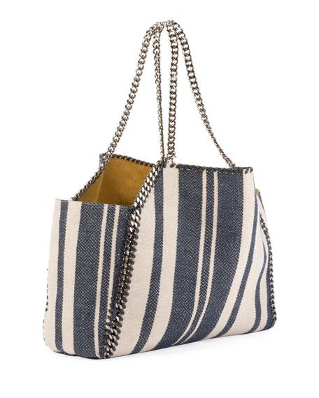 Falabella Striped Canvas Small Tote Bag