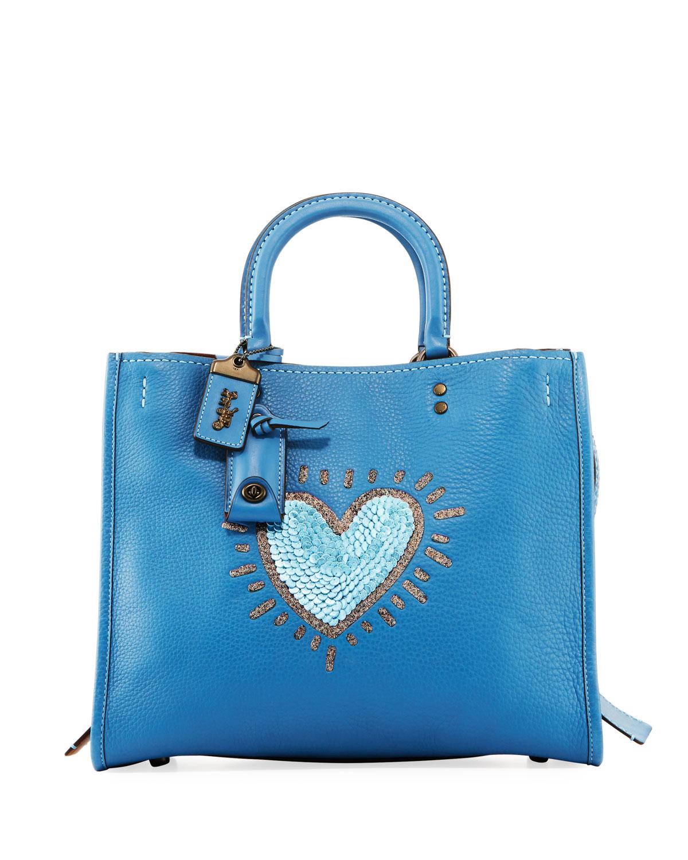 Coach 1941 X Keith Haring Rogue Sequin Heart Satchel Bag